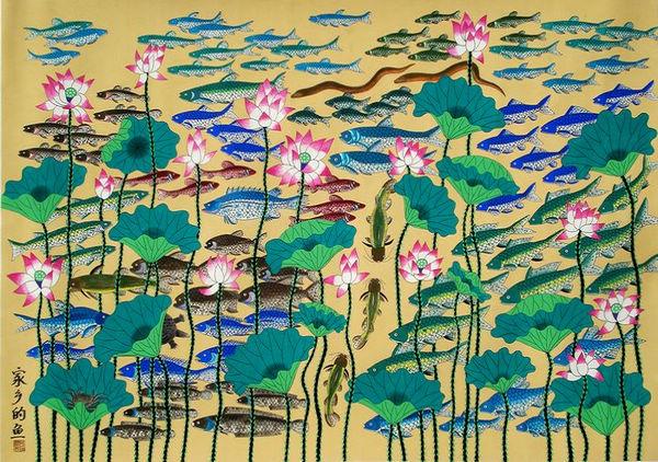 其中,由上海民协推荐的金山农民画师陆学英创作的《家乡的鱼塘》荣获